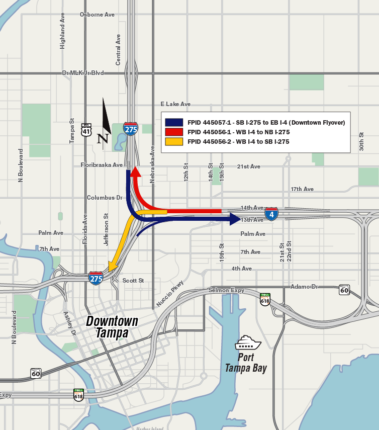 I-275/I-4 Downtown Tampa Interchange Sec 6 with movements and schedule